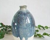 Slate over Cream  over White  Vase -- Handmade, Wheel thrown