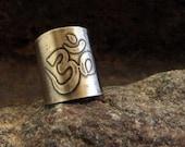 Adjustable Belly Dance Sterling Ring, OM Symbol Etched in Sterling Silver