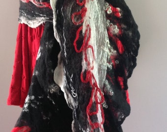 Nuno felted silk scarves, felted wool shawl, black, red, white, lagenlook, fiber Art to Wear, super long scarf artsy, OOAK