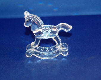 """Swarovski Retired Silver Crystal Child's Rocking Horse, part of the """"When we were Young"""" collection ~ With Original Box & COA ~ Excellent"""