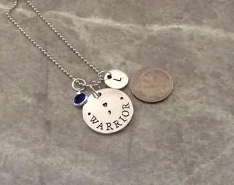 Warrior semi colon Pendant, semicolon project, suicide prevention, can personalize, mental health necklace