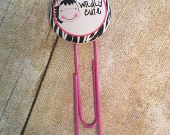 Planner Clips - Wildly Cute Zebra #2 Button For Planners, Calendars, Or Books