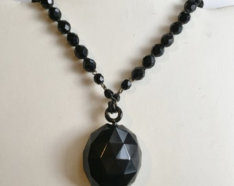 Victorian Whitby Jet Locket on French Jet Beads