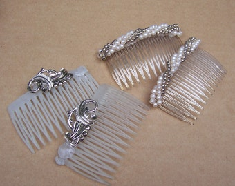 Decorative hair comb 4 mid century hair combs in faux pearls decorative comb hair jewelry hair ornament