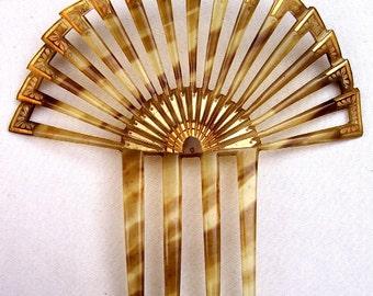 Art Deco hair comb Spanish style celluloid faux tortoiseshell gilded hair accessory hair jewelry hair ornament decorative comb