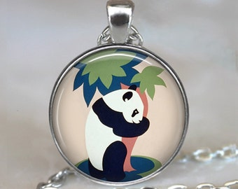 Panda Bear necklace, Panda Bear pendant, Panda Bear jewelry, tree hugger jewelry, tree hugger pendant, keychain key chain
