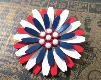 Enamel Flower Pin VINTAGE Large Red White & Blue Enamel Pin Brooch Patriotic FLOWER White Enamel Flower Pin Brooch Vintage Jewelry (L212)