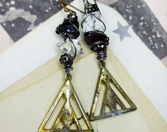 Rustic Assemblage Earrings -  Quartz Beads over Triangle Metal Charms - Mismatch - Raw Black Tourmaline - Stars - Steel Wire Beaded Wrapping