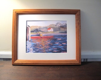 The Kayaker Print, Fine Art, Matted and Ready For Frame, Fits in 11x 14 Frame Opening