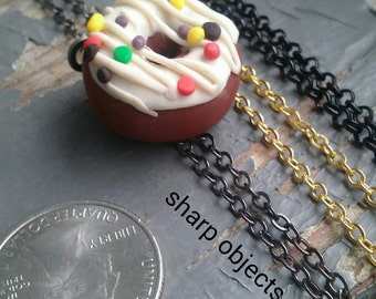 Donuts & Dedication - vanilla frosted chocolate pastry, rainbow sprinkles, miniature doughnut charm necklace - choose your custom chain