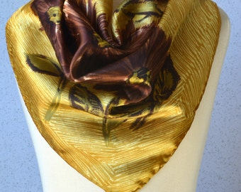 Vintage square scarf: Gold, sunflowers, flowers, drawing