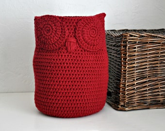 Large Owl Basket Toy Caddy Woodland Baby Nursery Decor Crocheted Holder Home Organizer Choose Your Color