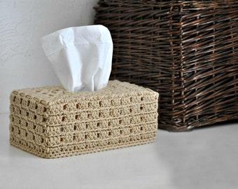 Buff Tissue Box Cover Nursery Decoration Neutral Home Decor Beige Kleenex Box Cover