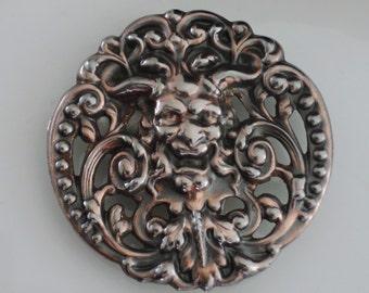 Vintage Brooch - Green Man Jewelry - Pan Brooch - Devil Pin - Fantasy Jewelry - Brass Jewelry - handmade jewelry