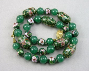 Vtg Chinese Cloisonné Beads & Old Jade Green Glass Beads Necklace, Silver Clasp: Gold Plated