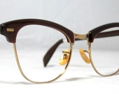 Vintage 60s Browline Cat Eye Frame.  Mink and Gold by Shuron