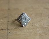 Art Deco Belais 18K triple diamond engagement ring