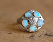 Antique Art Deco 18K opal and diamond cluster filigree ring
