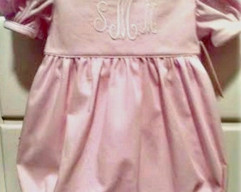 Girl's Pique Monogrammed Bubble in Pink