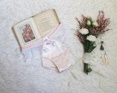 Pink Satin Gardenia Hipster Panties with White Polka Dot Mesh Handmade Feminine Lingerie