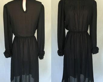 1960s Black Ruffle Dress  - Little Black Dress - Retro Dress - Medium Large