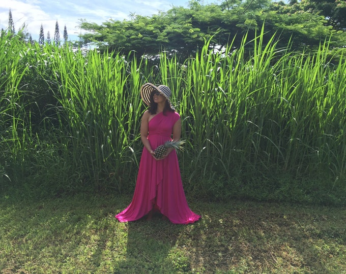 Fiesta Hot Pink TULIP CUT~ Long Infinity Wrap Dress~ Boho, Bridesmaids, Maternity, Plus Size