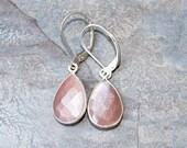 Peach Moonstone Earrings, Gemstone Earrings, Peach Earrings, Sterling Silver Earrings, Teardrop Earrings, Modern Earrings, Peach Jewelry