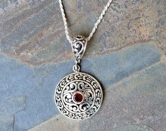 Garnet Necklace, Gemstone Necklace, Medallion Necklace, Sterling Silver Necklace, Red Necklace, Burgundy Necklace, Semi Precious Stone