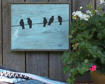 Birds On A Wire Painting, Black Crow, Framed Canvas Wall Art 11 x 14, Boho Chic