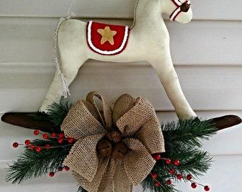 Rocking Horse, Door Hanger, Holiday Decor