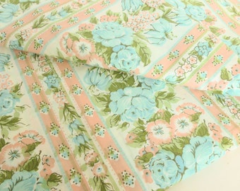 "Thibaut Floral and Stripes Fabric Screen Print in Pinky Peach, Blue, and Green ""Penelope"" ONE Yard Home Decorator Drapery"