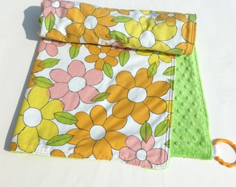 Minky Baby Blanket Mod Flowers Vintage Bed Sheet with Lime Green Minky and Pink, Orange, Yellow, Green, White Upcycled Daisies Fabric