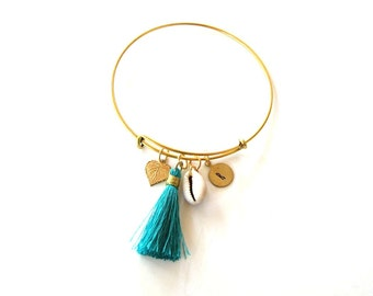 personalized initial bangle bracelet with aqua blue tassel, golden leaf & seashell . expandable bracelet, summer fashion . monogram initial