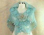Coral Blue Crochet Shawl, Bridal Shawl, Triangle Shawl, Bridal Shrug Bolero, Winter Wedding Shawl, Wedding Cover Up Aquamarine Glitter Gold