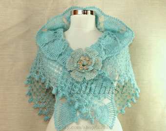 Coral Blue Crochet Shawl, Bridal Shawl, Triangle Shawl, Bridal Shrug Bolero, Wedding Shawl, Cover Up Aquamarine, Glitter Gold Bridal Wrap