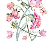 Rose Print, Gift for Mom, Flower Print, girls wall art, Pink, Easter gift, Flower Painting, Watercolor Painting, Flower art