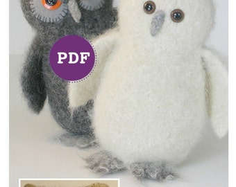 PDF-PATTERN. A Knit & Felt Wool Owl Downloadable PDF Pattern