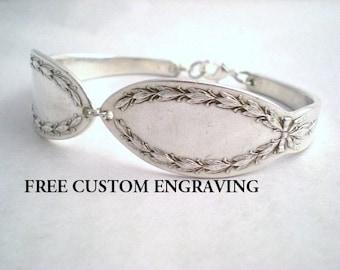 Spoon Bracelet, FREE ENGRAVING, Custom wedding bracelet, Sunflower, Silverware Jewelry DIANA 1910
