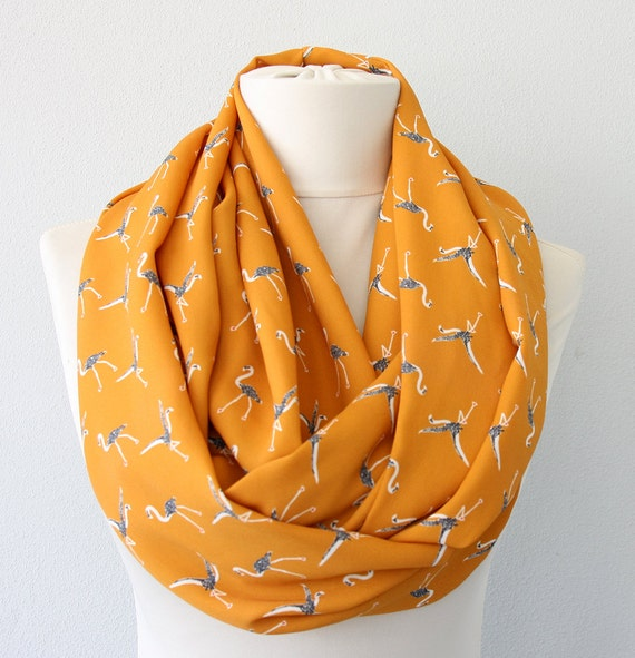 Bird scarf flamingo pattern infinity scarf summer scarf loop scarf mustard yellow scarf animal print boho chic fashion scarves for women