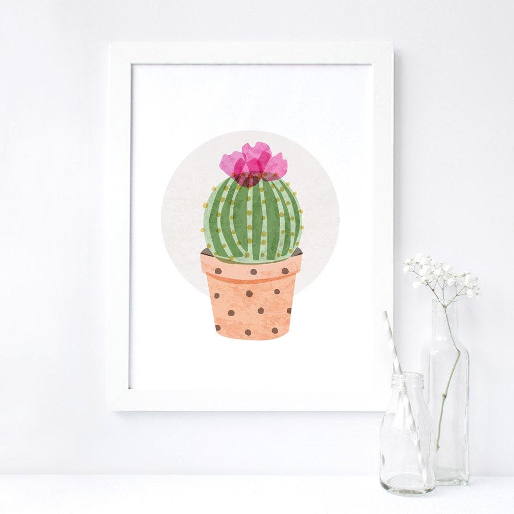 original cactus print cactus wall art kitchen decor bedroom