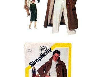 Vintage Simplicity 5285, Misses Coat Pattern, Misses Vest Pattern, Coat with Button Out Lining Sewing Pattern Misses Size 16 Vintage Pattern