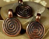 2 Bronze Spiral Pendants or Charms - Ancient Tribal, Druid, Shaman, Spiritual Style Metal Coin Maze Disk