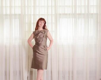 1960s Dress & Jacket Set - Vintage 60s Dress - Mocha Latte Dress and Jacket