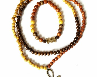 African inspired, ethnic, wood bead mens necklace- The Ansari