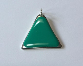 Turquoise Triangle Pendant - Turquoise Enamel - 40mm x 45mm