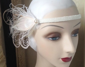 1920's style flapper headband with faux pearl beaded band, vintage rhinestone button, ivory peacock feathers 20's headpiece - made to order
