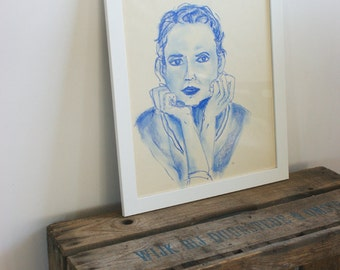 Pastel drawing in blue - modern woman - original- one available