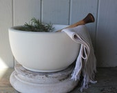 Antique Heavy White Stoneware Apothecary Mortar and Pestle