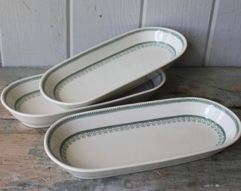 Vintage Green Transferware Ironstone Mayer China Bread Plates