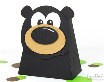 Black Bear Favor Box : Handcrafted Bear Party Favor | Forest Animal Gift Box | Teddy Bear Party | Lumberjack Party Favor | Made to Order